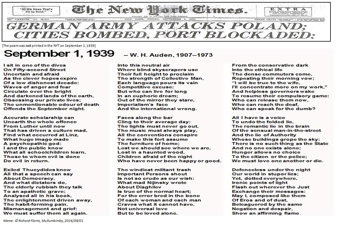 September 1, 1939: NYT headline & W. H. Auden\'s poem   dikflantz76+...
